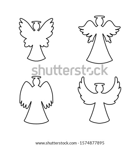vector set of four line art