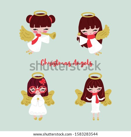 Vector set of four little angels on green background. Religion decorative elements for New year and Christmas holiday. Cute and pretty angels cartoon illustration.