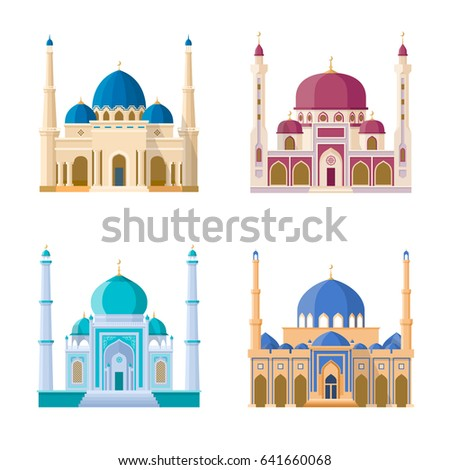 vector set of four mosques