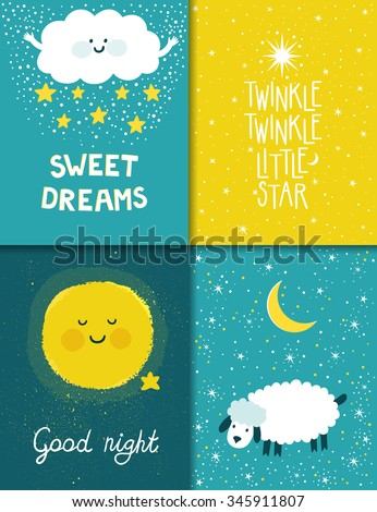 Stock Photo Vector set of four night cards with cute cartoon characters and phrases. Beautiful posters for baby rooms. Childish backgrounds with moon, stars, cloud, sheep.