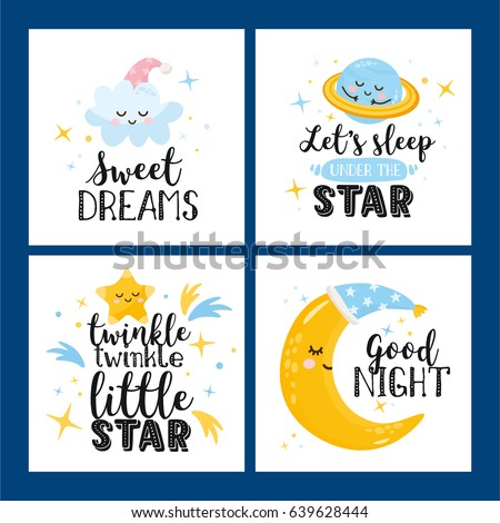 vector set of four night cards
