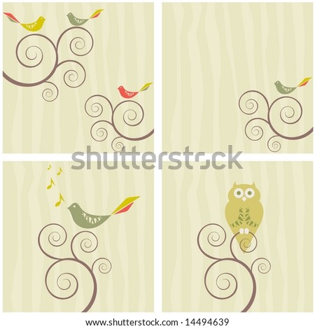 Vector set of four retro bird swirly tree designs (Retro Collection 1)