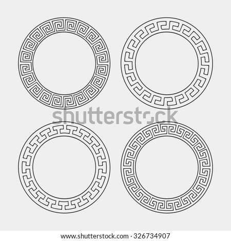 Vector set of four round meander frames. Greek hand drawn border for banner, card, invitation, postcard, label, poster, emblem and other design elements. Vector isolated illustration.