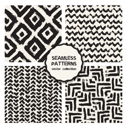 Vector set of four seamless patterns. Stylish collection with tileable swatches. Monochrome prints, backgrounds made with brush strokes: triple chevron, hipster triangles
