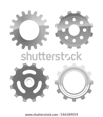 vector set of four various gears, eps10 file, gradient mesh and transparency used, raster version available