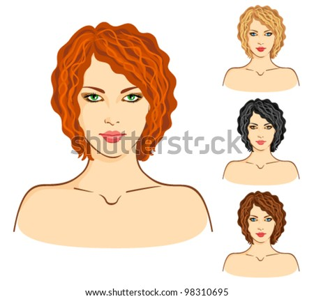 vector set of four young women