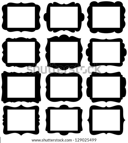 "Vector Set of Frame Silhouettes in with 8.5"" x 11"" proportion openings"