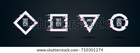 vector set of frames with glitch effect. hipster design elements in a modern style. design business cards, invitations, gift cards, flyers brochures.