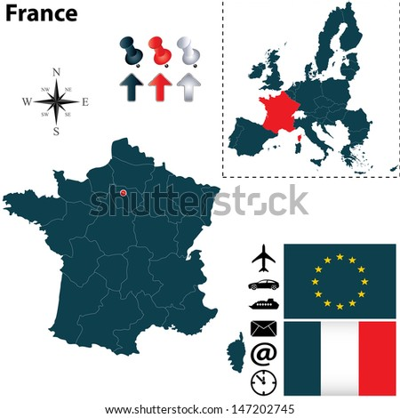 Vector set of France and European Union shape with flags and icons isolated on white background Stock fotó ©