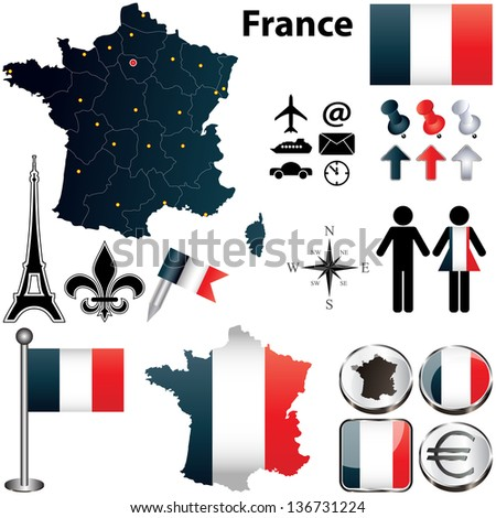 Vector set of France country shape with flags and icons isolated on white background Stock fotó ©
