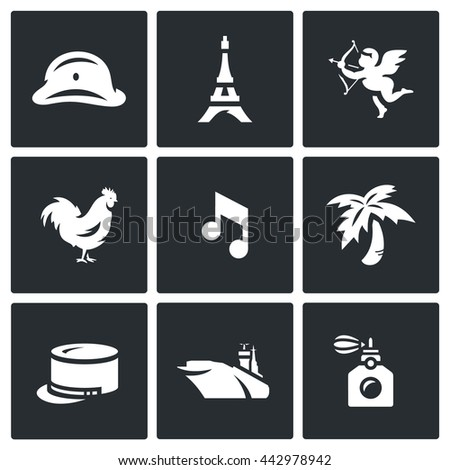vector set of france icons