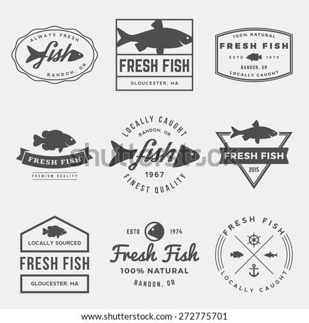 vector set of fresh fish labels