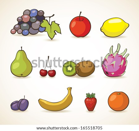 vector set of fruits and berries