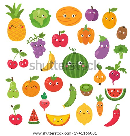 vector set of fruits, clipart for kids with kawaii face, cartoon vegetables for children