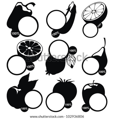 vector set of fruits labels - black stickers