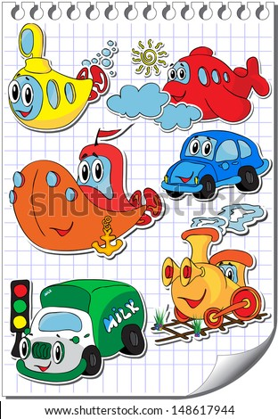 Vector set of funny and kind cartoon transport