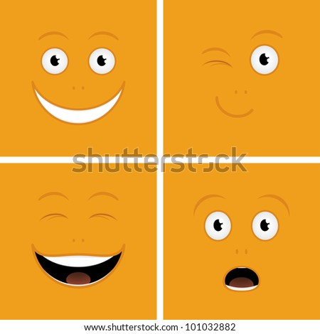 Vector set of funny cartoon characters - stock vector