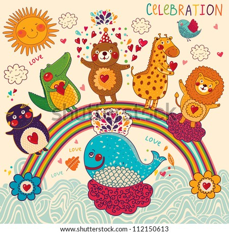 Vector set of funny, happy animals. Greeting card. Happy Birthday