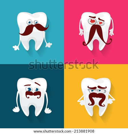 vector set of funny teeth with