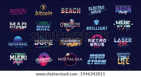 Vector set of futuristic logos in Retro 80s style. Vaporwave, Synthwave logo set for Night club, Casino, music album, party invitation designs. Print for t-shirt, tee. 20 colorful neon logo designs.