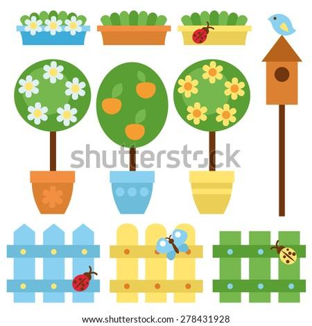Vector set of garden items.