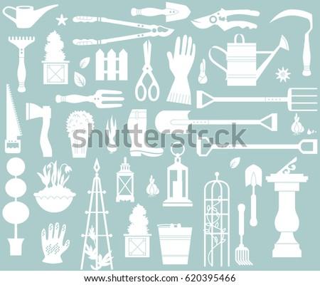 vector set of gardening tools