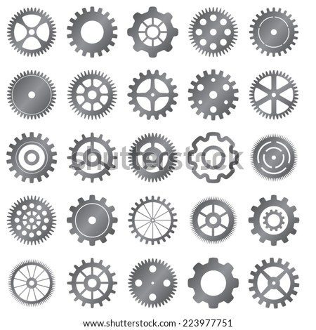 vector set of gear wheels on