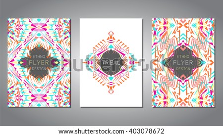 Modern geometric invitation download free vector art stock vector set of geometric colorful brochure template for business and invitation ethnic tribal stopboris Choice Image