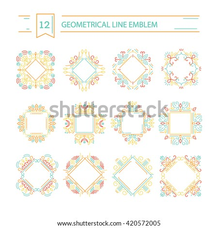 Vector set of geometrical  logo design templates and emblems in trendy linear style isolated on background. Perfect for floral and natural cosmetics concepts. Ethnic frame.