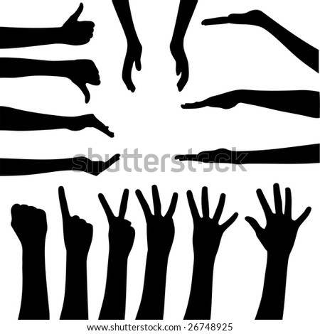 Vector set of gesturing hands shapes