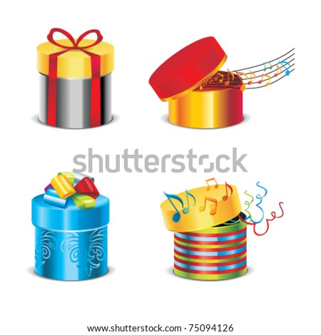 Vector  set of gift box with notes