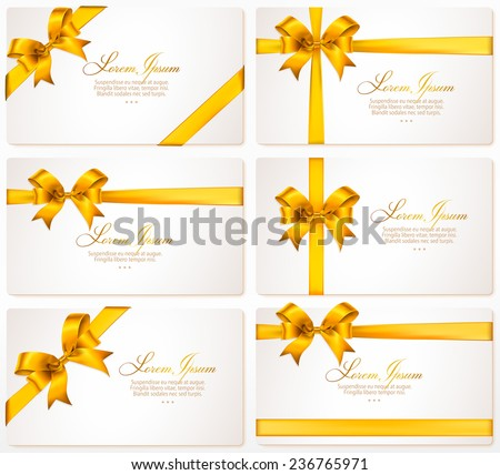 Vector set of gift cards with gold bows and ribbons