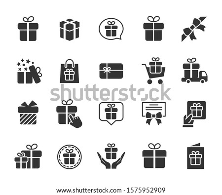 Vector set of gift flat icons. Contains icons of surprise box with bow, certificate, gift card and more. Pixel perfect, scalable 24, 48, 96 pixels.