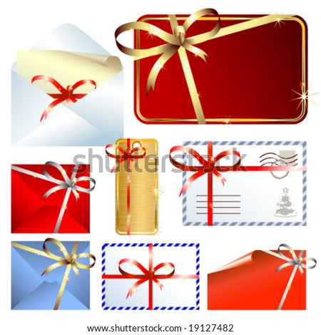 Vector set of gift labels and envelopes