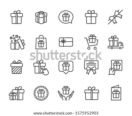 Vector set of gift line icons. Contains icons of box, bow, surprise, certificate, gift card and more. Pixel perfect, scalable 24, 48, 96 pixels. Foto stock ©