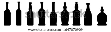 vector set of glass bottle