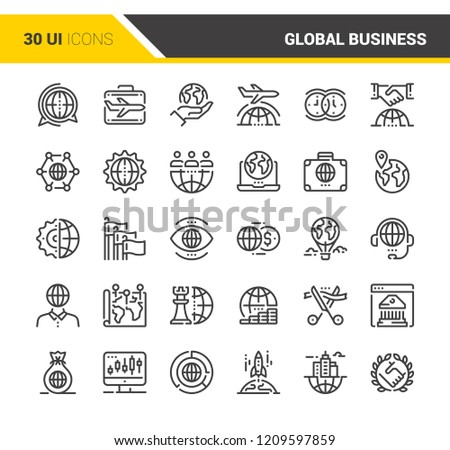 Vector set of global business flat line web icons. Each icon with adjustable strokes neatly designed on pixel perfect 48X48 size grid. Fully editable and easy to use.