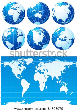 Vector set of globes and world map