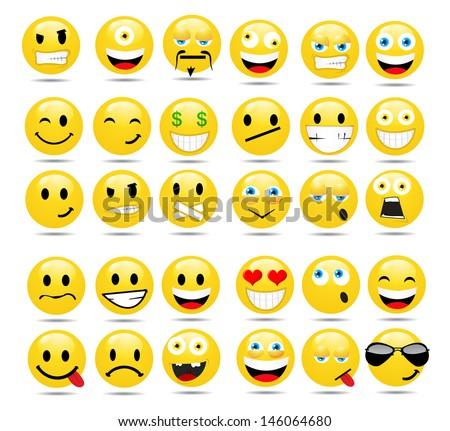 Vector set of glossy Emoticons ストックフォト ©