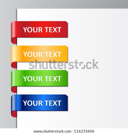 Vector set of glossy plastic tags. 10 EPS