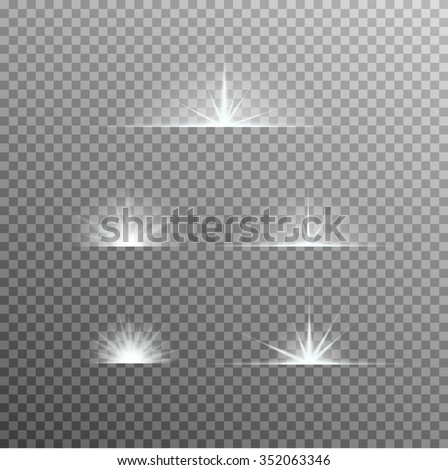 vector set of glowing light