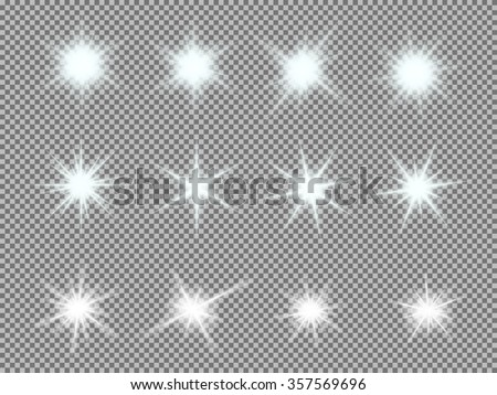 vector set of glowing light
