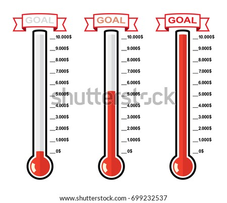 vector set of goal thermometers at different levels with dollar degrees, red bulb temperature measurement device for business and charity backgrounds, flat style
