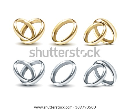 Vector Set of Gold and Silver Wedding Rings Isolated on White Background
