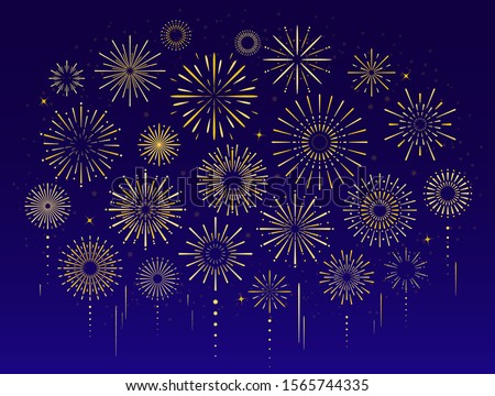 Vector set of gold celebration festive fireworks for holiday, new year party, christmas, birthday, carnival, Independence day. Firework show in dark evening sky. Pyrotechnics firecracker background stock photo