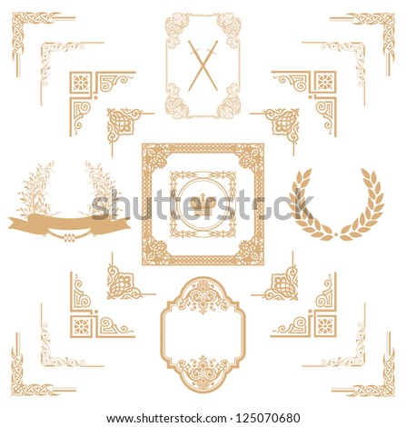 ... horizontal floral elements corners borders frame crown Page decoration