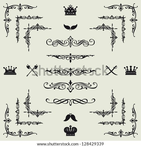 Vector set of gold decorative horizontal floral elements corners borders frame crown Page decoration