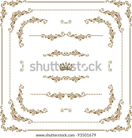 Vector set of gold decorative horizontal floral elements, corners, borders, frame, crown. Page decoration.