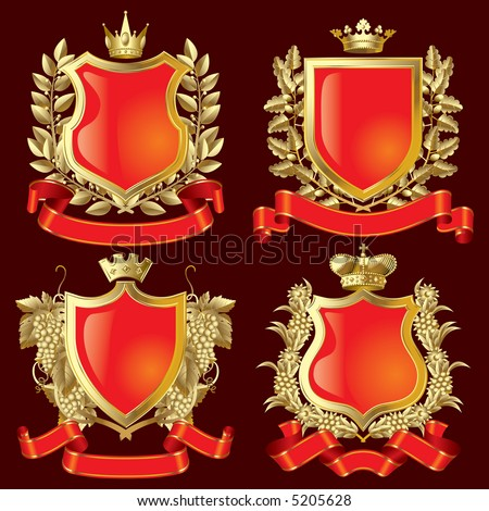Vector set of gold heraldic symbols