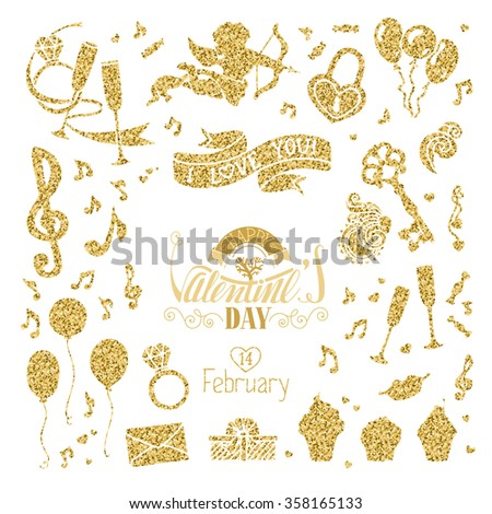 vector set of gold signs for